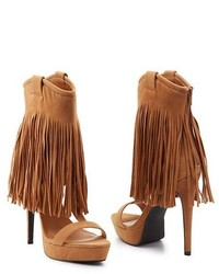Tan Fringe Suede Heeled Sandals