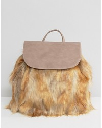 Glamorous Backpack With Faux Fur Detail