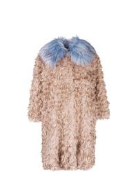 L'Autre Chose Curly Designed Oversized Coat