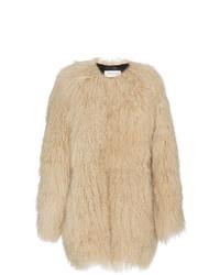 Saint Laurent Oversized Mongolian Lamb Fur Coat