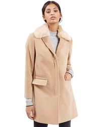 Topshop Mia Faux Fur Collar Slim Fit Coat