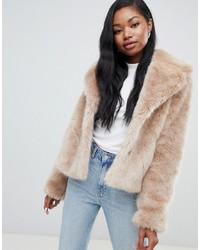 Bershka Faux Fur Short Jacket In Camel