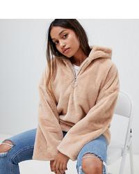 Glamorous Petite Half Zip Hooded Jacket In Faux Fur