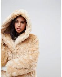 ASOS DESIGN Hooded Fluffy Faux Fur Coat