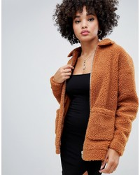 Missguided Oversized Pocket Detail Borg Jacket In Rust