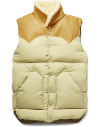 Christy leather and shearling trimmed shell down gilet medium 389431