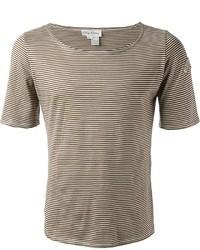 Tan Horizontal Striped Crew-neck T-shirt