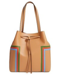 Tory Burch Block T Stripe Leather Drawstring Tote Brown