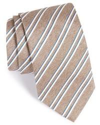 Tan Horizontal Striped Silk Tie