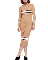 Tan Horizontal Striped Sweater Dress