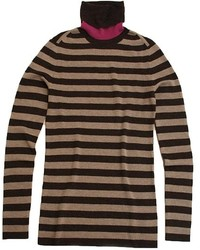 Tan Horizontal Striped Turtleneck