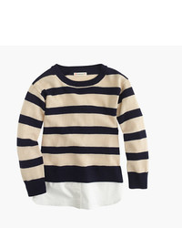 J.Crew Girls Deck Striped Popover Sweater With Shirttail