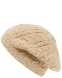 Sole Society Cable Knit Beret Brown