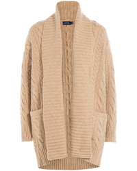 Tan Knit Open Cardigan