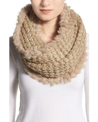 Infinity scarf with genuine rabbit fur fringe medium 389251
