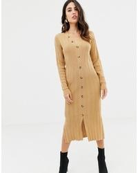 ASOS DESIGN Midi Cardigan Dress In Rib Knit