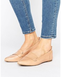 Aldo Cherryhill Nude Leather Flat Shoes