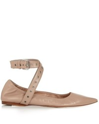 Valentino Love Latch Point Toe Leather Ballet Flats