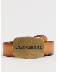 Calvin Klein Jeans Leather Belt In Brown