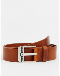 Diesel Leather Logo Belt In Tan