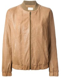 Tan Leather Bomber Jacket