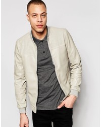 Pull&Bear Faux Leather Bomber Jacket In Beige