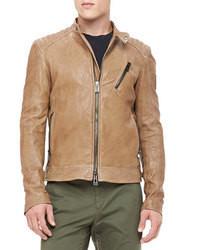 Belstaff Kirkham Leather Biker Jacket Tan