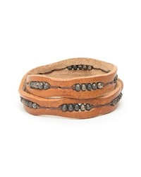 Will Leather Goods Black Wrap Bracelet Brown