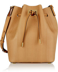 Michael Kors Michl Kors Miranda Large Leather Trimmed Python Bucket Bag