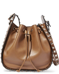 The rockstud bucket leather shoulder bag tan medium 1126015