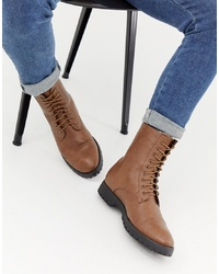 Truffle Collection Borg Lined Lace Up Boots In Tan