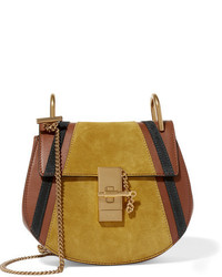 Chloé Drew Mini Leather And Suede Shoulder Bag Light Brown