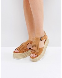 Espadrille tan fringe wedge medium 4420223
