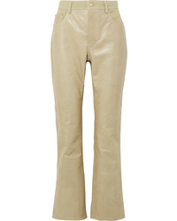 Acne Studios Paneled Leather And Cotton Blend Twill Flared Pants