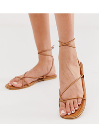 Missguided Barely There Flat Sandal With Tie Leg In Tan