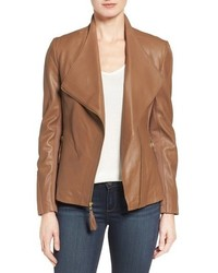 Asymmetrical leather jacket medium 751390