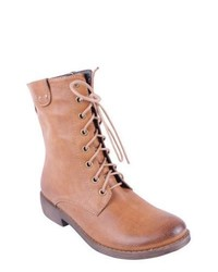 Tan Leather Lace-up Flat Boots