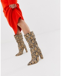 SIMMI Shoes Simmi London Snake Ruched Knee High Boots