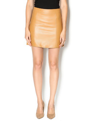 Tan Leather Mini Skirt
