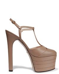 Gucci Leather Platform Pumps Taupe