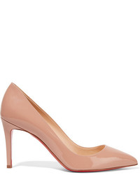 Christian Louboutin Pigalle 85 Patent Leather Pumps Beige