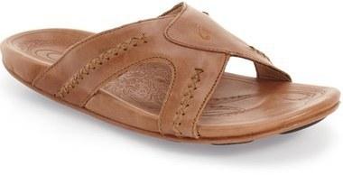 Men's Fashion › Footwear › Sandals › Tan Leather Sandals OluKai Mea Ola  Slide Sandal ...