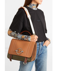 JW Anderson Disc Color Block Leather And Suede Shoulder Bag