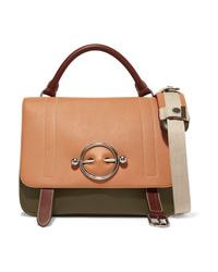 JW Anderson Disc Color Block Leather And Suede Shoulder Bag