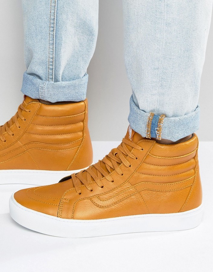 3cfd55a8c7f1 ... Tan Leather Sneakers Vans Sk8 Hi Cup Leather Sneakers In Red Va2z5xjyq  ...