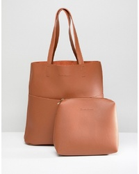 Claudia Canova Unlined Two Pocket Tote Bag