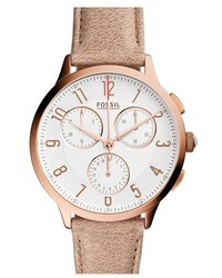 Fossil Abilene Chronograph Leather Strap Watch 34mm