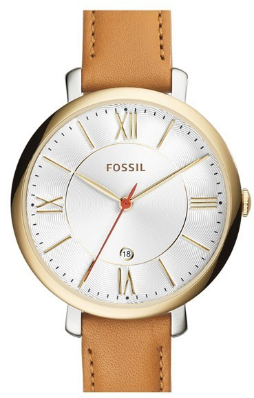 Fossil Jacqueline Round Leather Strap Watch 36mm