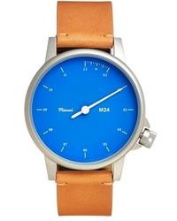 Miansai M24 Round Leather Strap Watch 35mm Tan Blue