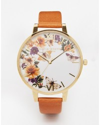 Olivia Burton Enchanted Garden Tan Leather Watch